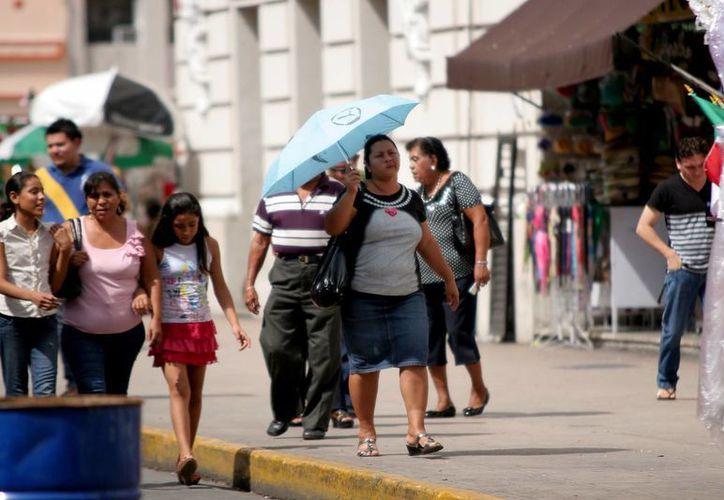 Este domingo, los intensos rayos del sol obligaron a los paseantes de Mérida a utilizar sombrillas para protegerse del astro rey. (Christian Ayala/SIPSE)