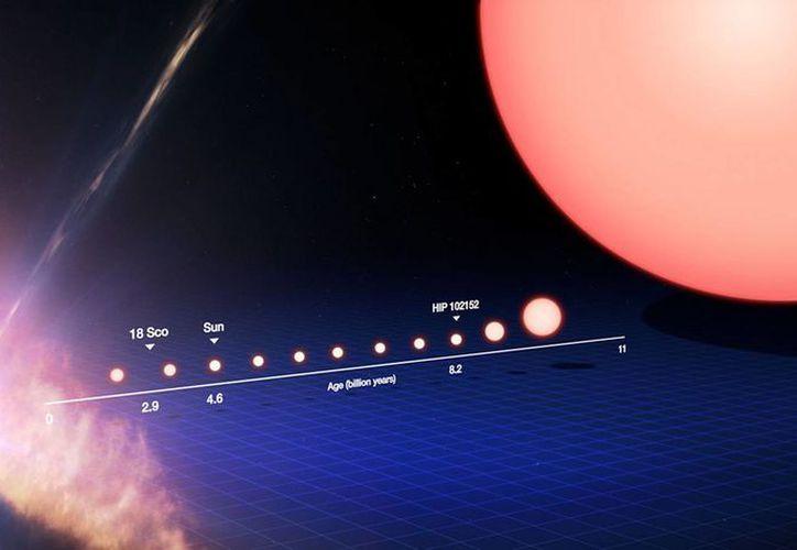 La gráfica muestra el ciclo de formación de un gemelo solar. (EFE)