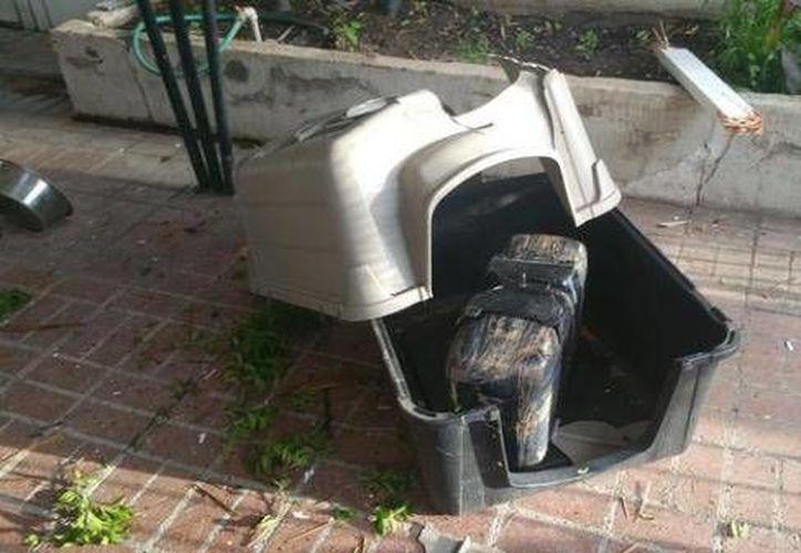 Los agentes suponen que el paquete de droga fue arrojado desde un avión ultraligero o un dron cayendo  sobre la casa de un  perro en Nogales. (excelsior.com.mx)