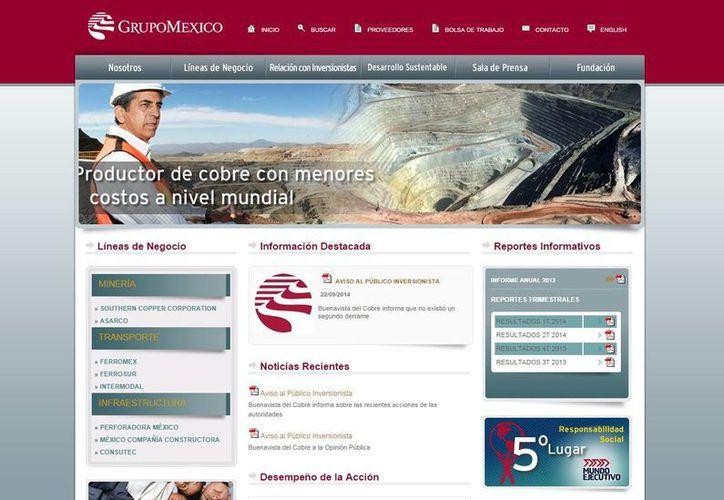 Imagen del sitio web de Grupo México, la minera más grande de cobre a nivel nacional. (gmexico.com.mx)