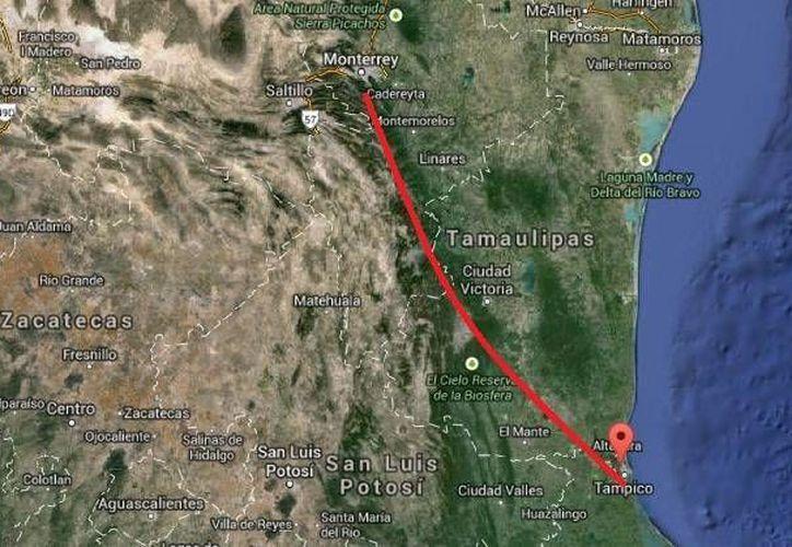 La delegación de la PGR en Tamaulipas informó que los cinco integrantes de una misma familia desaparecidos cuando se dirigían a Tampico fueron hallados en buenas condiciones en Cadereyta, Nuevo León.(Google Maps)