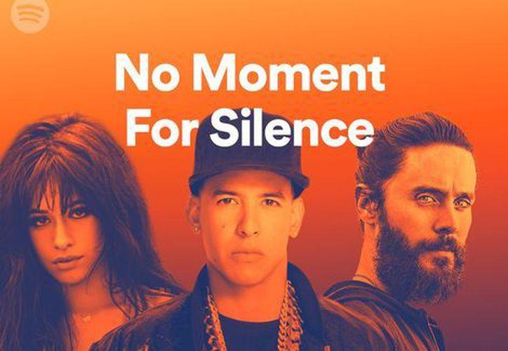 """No moment for silence"""" (No es momento para el silencio) es el nombre de la playlist de Spotify. (Twitter)."""