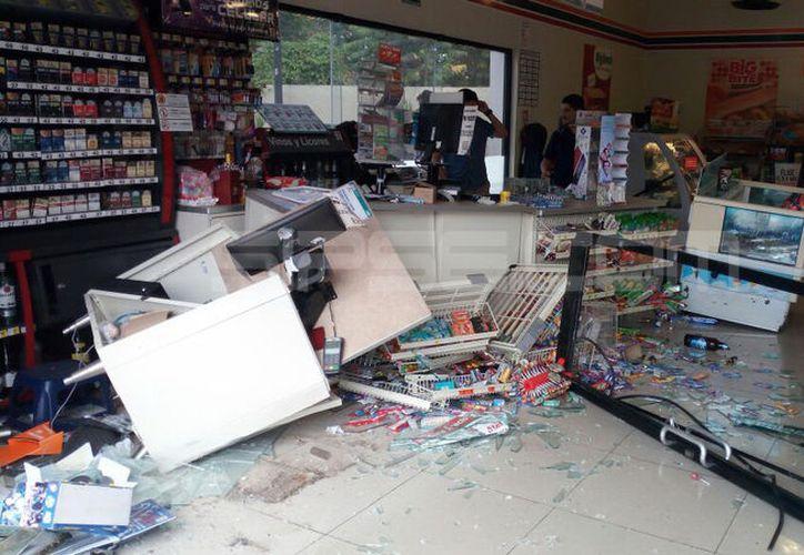 """Este accidente tuvo lugar el viernes en el estacionamiento de una tienda """"Seven Eleven"""", ubicada en la comisaría meridana de Cholul. (Aldo Pallota/SIPSE)"""