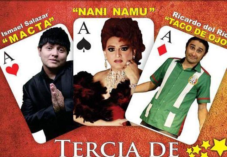 Ismael Salazar, 'Nani Namu' y Ricardo del Rio, presentarán su show renovado y como artista invitada llegará Jenny Puga (X' Polita). (teatrodecancun.com.mx)