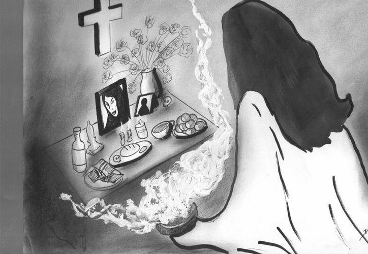 Las ofrendas y alimentos que se ponen en los altares en los días de Fieles Difuntos deben respetarse. (Jorge Moreno/SIPSE)