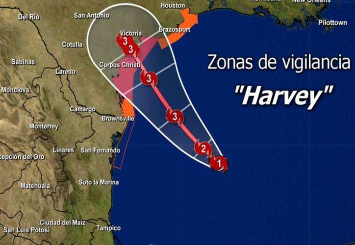 Los meteorólogos pronostican que este viernes podría alcanzar Texas como el huracán más fuerte de los últimos 12 años. (Conagua)