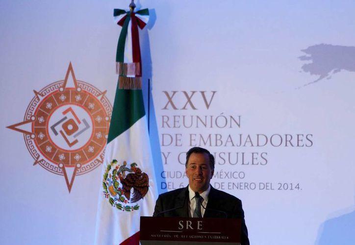José Antonio Meade Kuribreña, secretario de Relaciones Exteriores, durante la inauguración de la XXV Reunión Nacional de Embajadores y Cónsules. (Notimex)