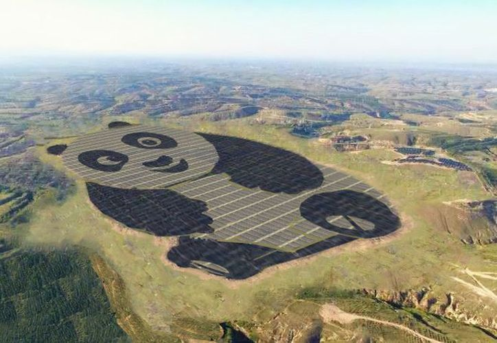 Esperan poner en marcha más granjas solares con forma de panda en los próximos cinco años. (Foto: Twitter)