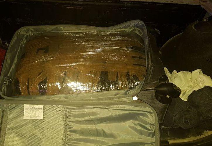 Dentro la maleta, habían varios paquetes con marihuana. (Redacción)