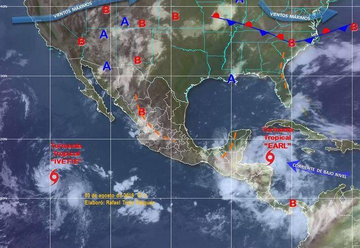 La depresión 10-E se intensificó a la tormenta tropical Ivette en el Océano Pacífico. (smn.cna.gob.mx)