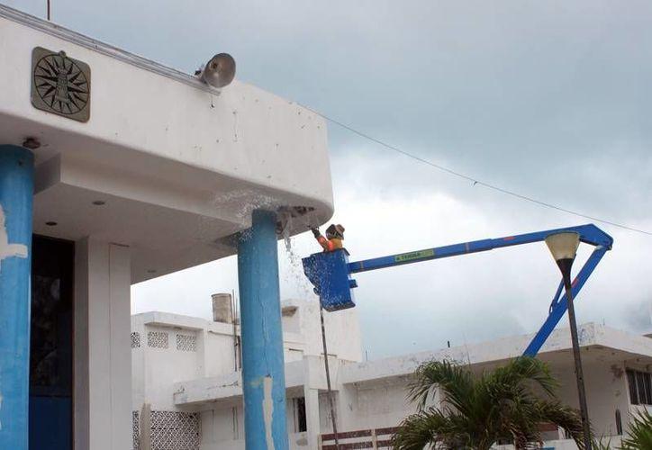 Elementos de Protección Civil trataron de nueva cuenta el panal. (Lanrry Parra/SIPSE)