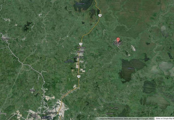 Un grupo de 100 pobladores de Tamulté de las Sabanas bloquea por segundo día la carretera 180 en Tabasco. (Google Maps)