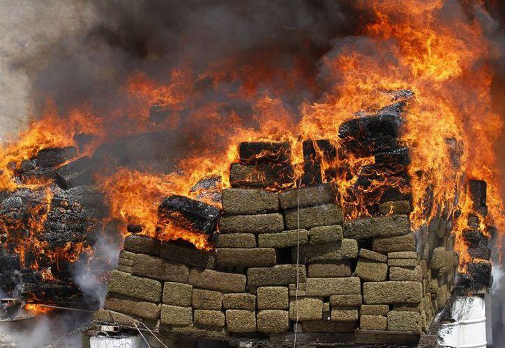 En la imagen, incineración de más de 138 toneladas de estupefacientes, en Tijauana, BC, el 18 de agosto de 2015. (Archivo/Notimex)