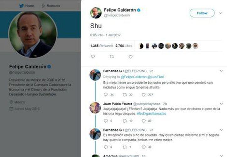 Un tuit le costó a Felipe Carlderón varias burlas en Twitter este domingo. (Milenio.com)