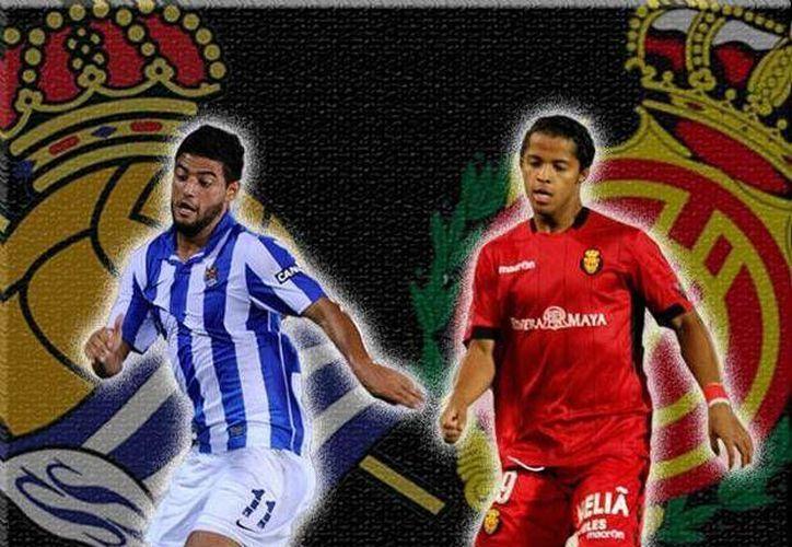 Carlos Vela (i) y Giovani dos Santos son dos referentes en sus equipos, pero esta vez Villarreal sacó la mejor parte contra Real Sociedad en Copa del Rey. (foxsportsla.com)