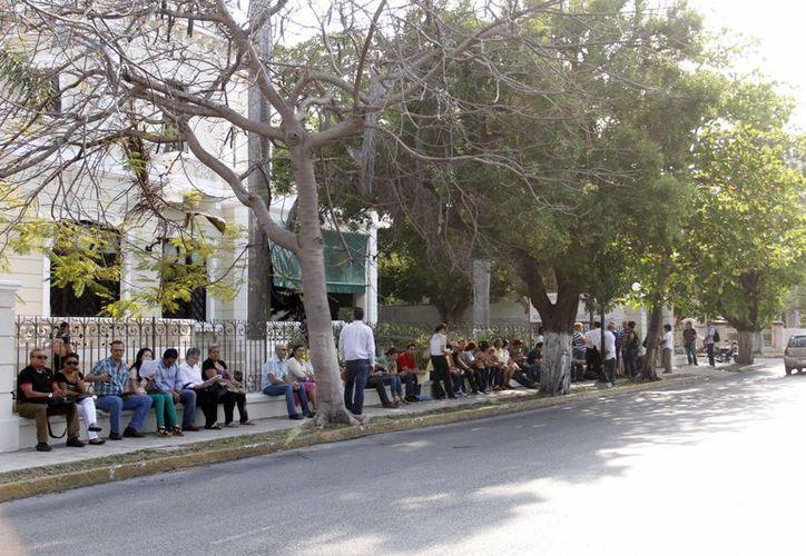 Cientos de extranjeros forman largas filas desde las 6 horas a las puertas del INM (Juan Albornoz/SIPSE)