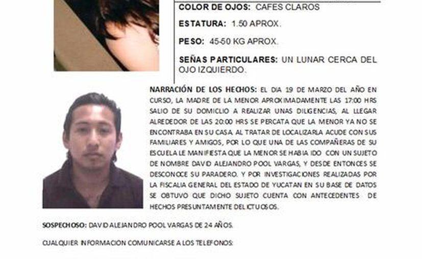 Cartel de la Alerta Amber que se activó en Yucatán por la desaparición de Carolina Trinidad Paredes Baas. (SIPSE)