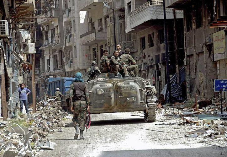 Soldados del ejército sirio en el casco antiguo de la ciudad de Homs, Siria. (EFE/Archivo)