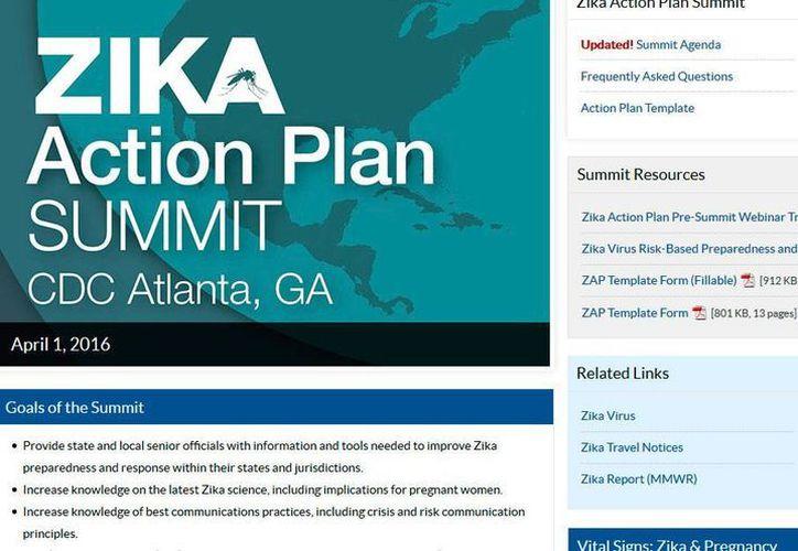 Captura de pantalla del sitio web del Centro de Prevención y Control de Enfermedades, que alude a la cumbre sobre el zika, el viernes, 1 de abril del 2016, en Atlanta. (www.cdc.gov)