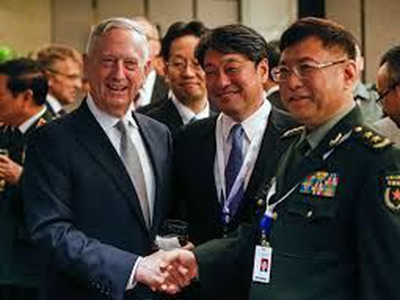 U.S. Defense Secretary Jim Mattis, Japan's Defense Minister Itsunori Onodera and China's People's Liberation Army's Academy of Military Science Deputy President He Lei.