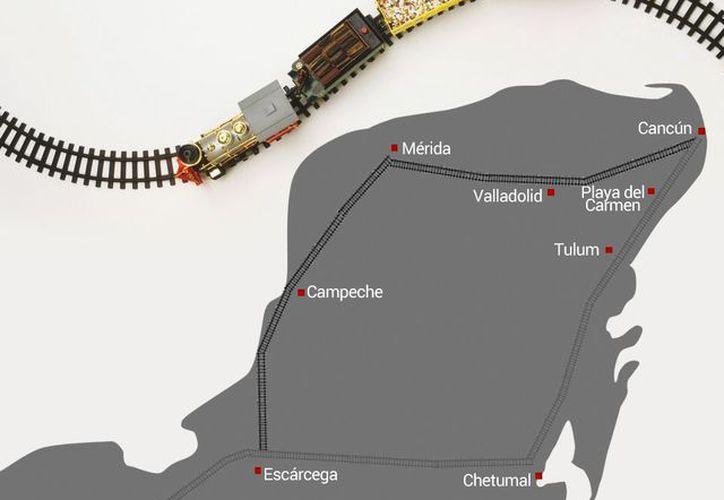 Nueva ruta del TREN MAYA de AMLO, con dos estaciones en Yucatán: Mérida y Valladolid. (Especial/Milenio Novedades)