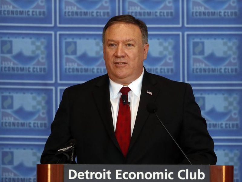 U.S. Secretary of State, Mike Pompeo, speaks at an Economic Club of Detroit luncheon in Detroid.