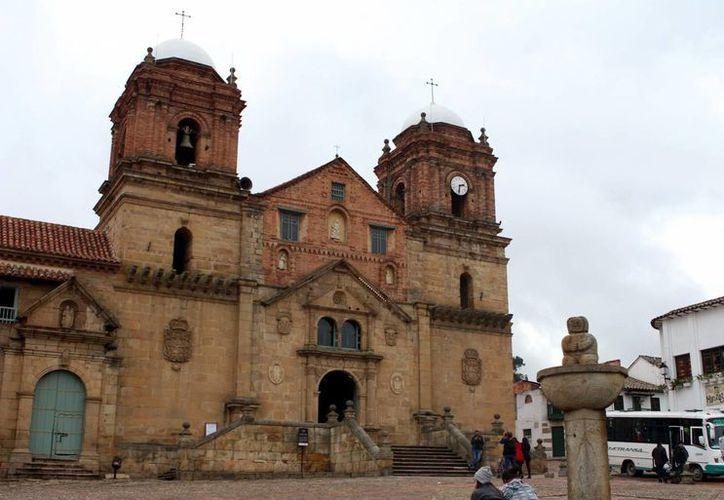 Fotografía tomada el pasado 30 de abril en la que se registró la Basílica y Convento de Nuestra Señora de Monguí, en Boyacá, Colombia. (EFE)