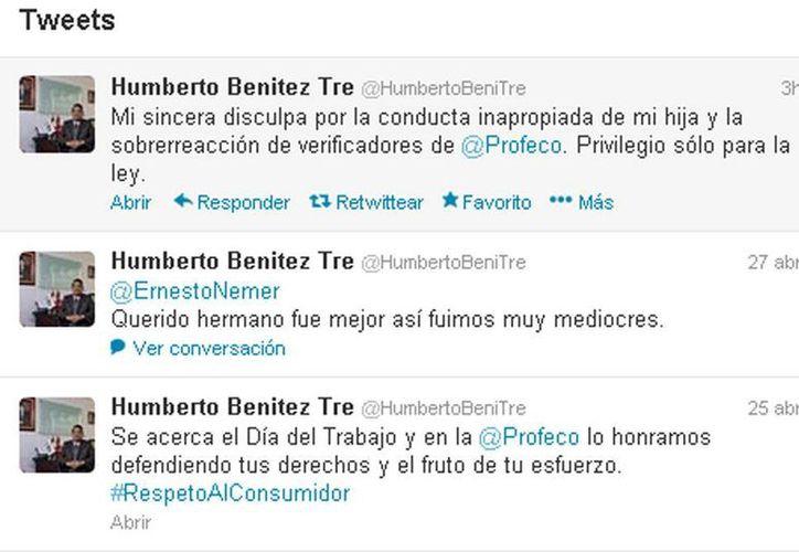 Captura de pantalla de la cuenta de Twitter de Humberto Benítez Treviño, titular de la Profeco. (Twitter)