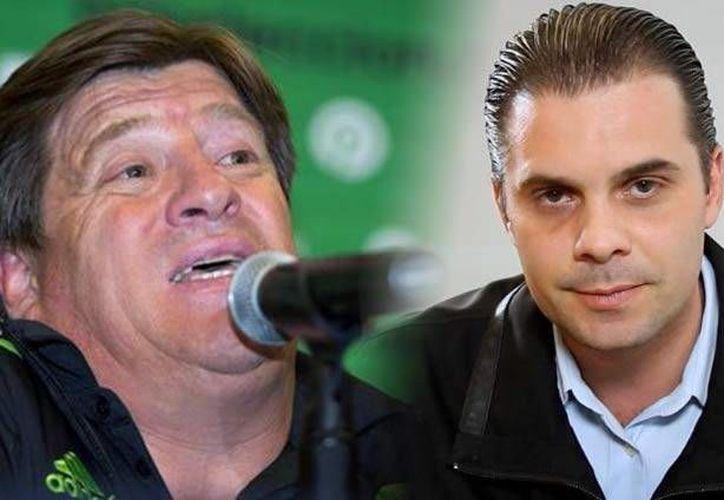 Según Luis García, exseleccionado mundialista convertido en comentarista, el técnico Miguel Herrera (i) agredió al cronista Christian Martinoli en EU. (ndmx.com)