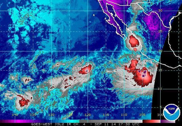 La tormenta tropical Odile favorece la presencia de lluvias torrenciales en Guerrero, Michoacán, Colima y Jalisco. (ssd.noaa.gov)