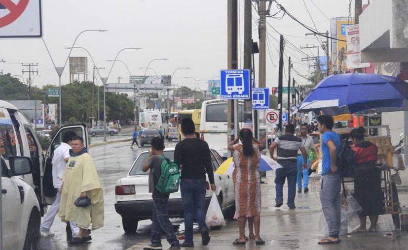 Los automovilistas no respetan a los que esperan camión. (Tomás Álvarez/SIPSE)