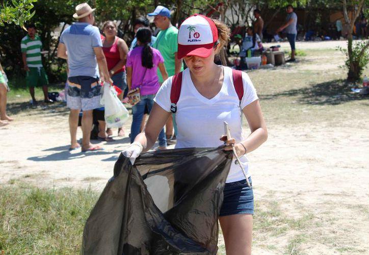 La limpieza se realizó al mediodía de ayer, en el tramo costero entre las colonias Luis Donaldo Colosio y Nicte-Ha. (Octavio Martínez/SIPSE)