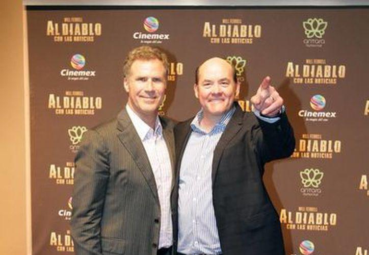 """Los actores Will Ferrell y David Koechner desfilaron por la alfombra roja de la película """"Al Diablo con las Noticias"""". (Notimex)"""