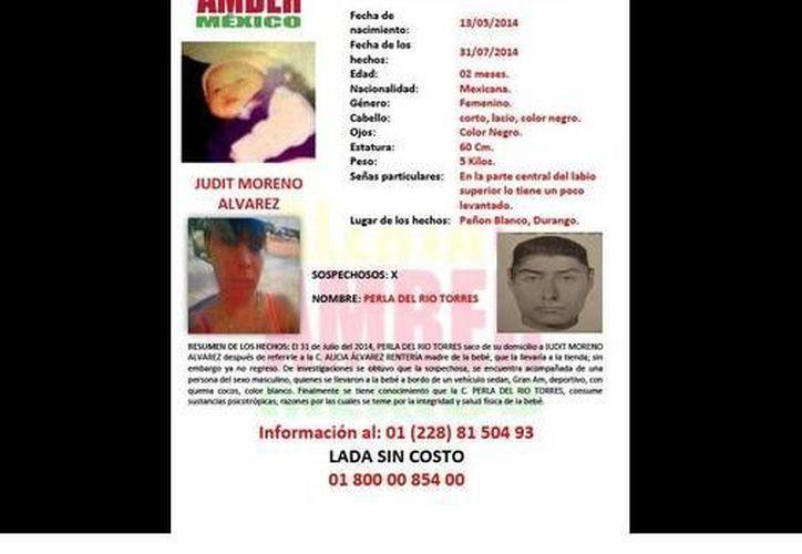 Judith Moreno Álvarez fue robada por Perla del Río Torres, quien es consumnidora de psicotrópicos. (twitter.com/SEGOB_mx)