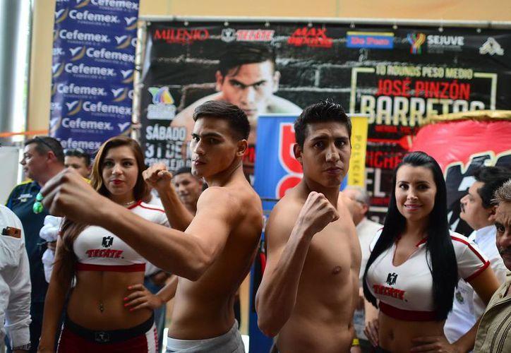 'Barretas' Pinzón y 'El Bravo' Rosales no tuvieron problemas con la romana al marcar ambos un tonelaje de 72.5 kgs. (Luis Pérez/SIPSE)