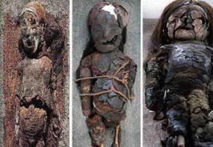 Estas son algunas de las momias de Chinchorro, en Tarapaca, Chile. Imagen cortesía de la Universidad de Taracapa. (EFE)