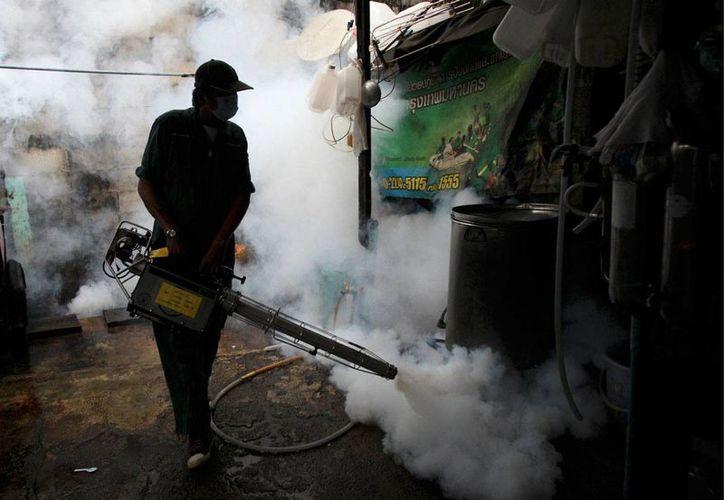 Foto del 26 de junio de 2013 que muestra a un trabajador de salud fumigando en Bangkok, Tailandia. La OMS advirtió que los casos de zika aumentan en la región Asia-Pacífico. (Foto:AP/Sakchai Lalit)