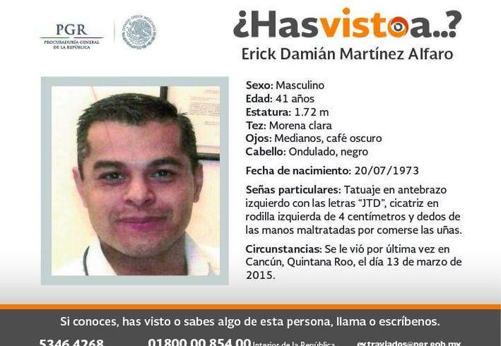 El subdelegado administrativo Érik Damián Martínez Alfaro está desaparecido desde hace dos meses. (Cortesía)