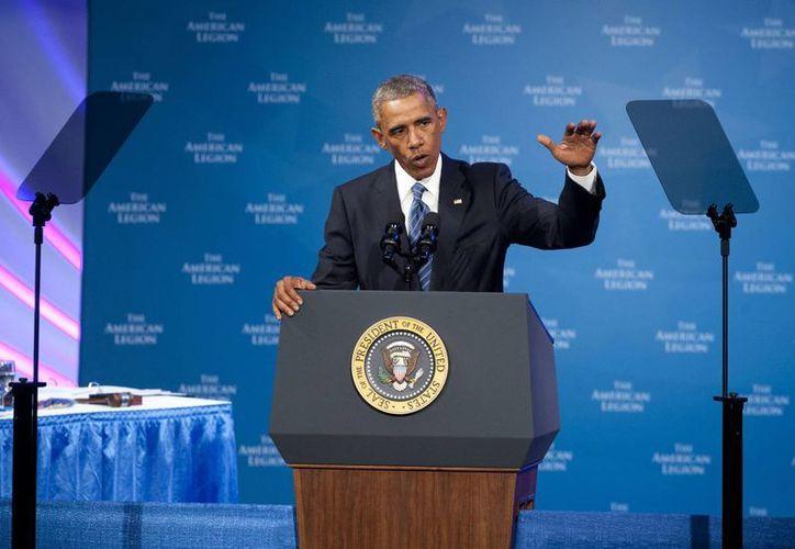 El presidente estadounidense, Barack Obama, habló hoy  durante la Convención Nacional de la Legión Americana en Charlotte, Carolina del Norte. (EFE)