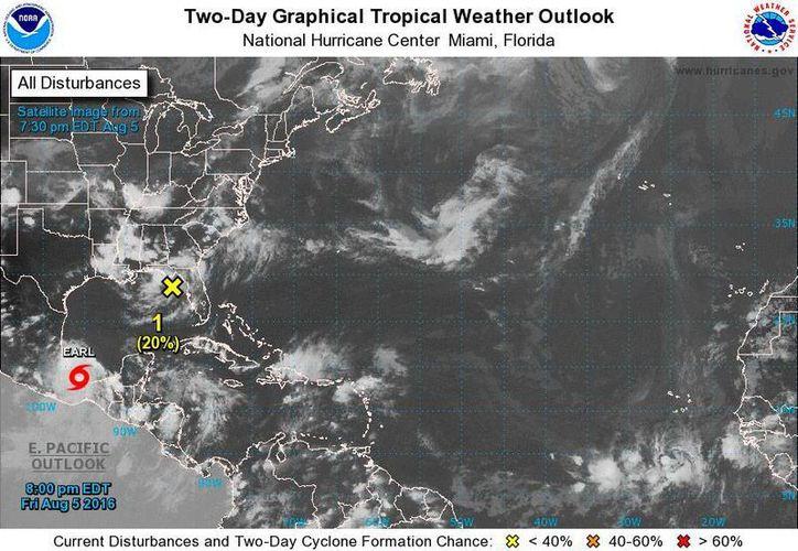 Imagen de satélite de la ubicación, esta noche, de la tormenta tropical 'Earl'. (www.nhc.noaa.gov)