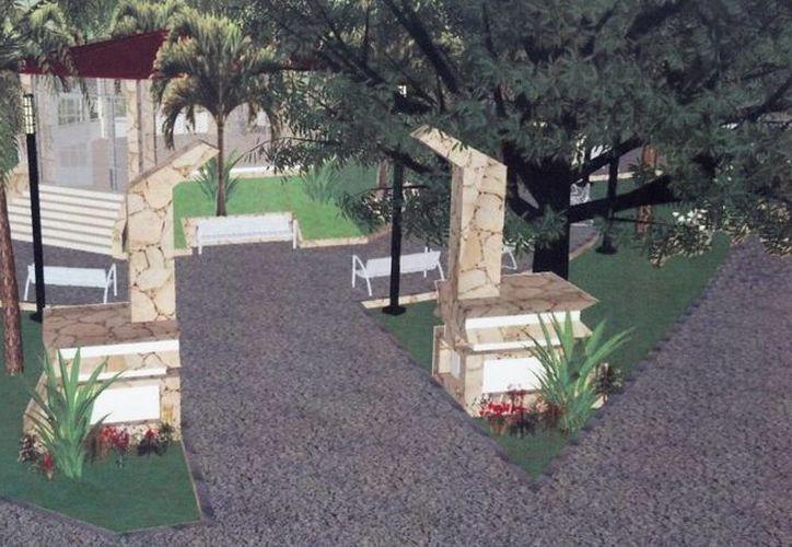 El parque contará con un arco maya que tendrá acabados hechos con piedras de la región. (Cortesía)