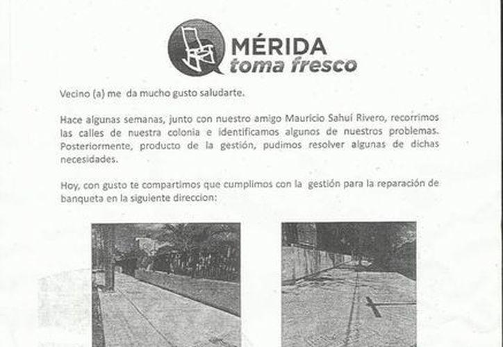 Volante del diputado federal Mauricio Sahuí Rivero. (SIPSE)