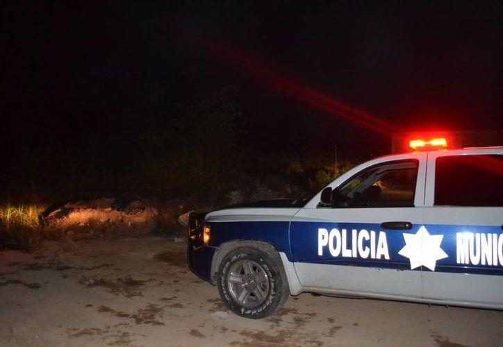 Los policías municipales acudieron al llamado de auxilio, en el parque las Casitas. (Redacción/SIPSE)