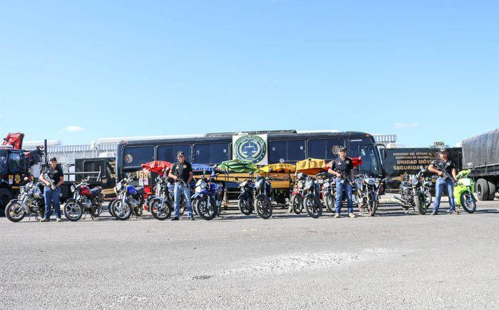 Las motocicletas habían sido robadas en diferentes municipios. (Secretaría de Seguridad Pública)