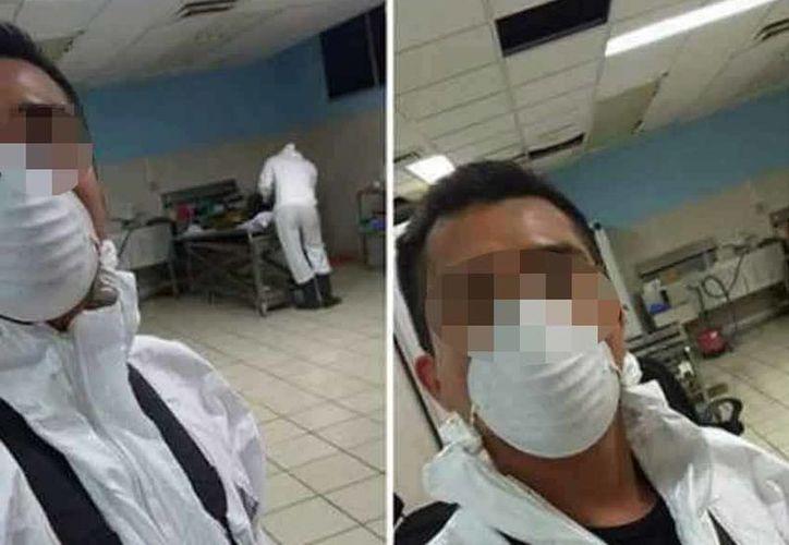 El perito investigador compartió dos imágenes que se tomó en el interior de la morgue durante su jornada de trabajo. (Excelsior)