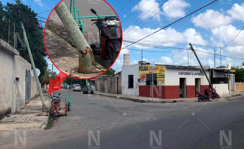 Postes de telefonía a punto de caerse.(Foto: Novedades Yucatán)