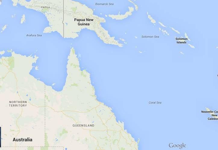 En Fiyi o Fiji (en recuadro rojo), pequeño país situado a la derecha de Australia, la gente al parecer es bastante feliz. (Google Maps)