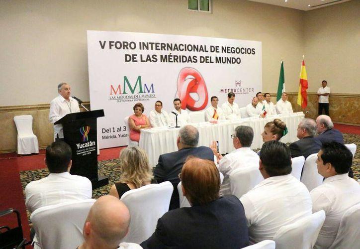 Imagen de la inauguración del V Foro Internacional de Negocios de las Méridas del Mundo en esta ciudad. (José Acosta/Milenio Novedades)