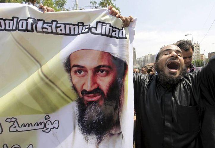 Musulmanes muestran un retrato del líder de Al Qaeda Osama bin Laden durante una manifestación en El Cairo, Egipto. (EFE)