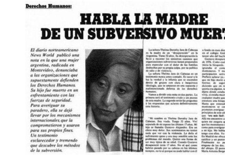 En 1979 fue publicada una falsa entrevista a Thelma Jara de Cabezas en la revista 'Para Ti', que años más tarde se descubrió que era falsa. (lagaceta.com.ar)